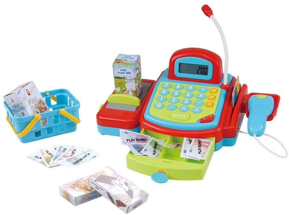 PlayGo elektronischem Supermarktkasse mit Kreditkartenabrechnung, inklusive Einkaufskorb mit Zubehör