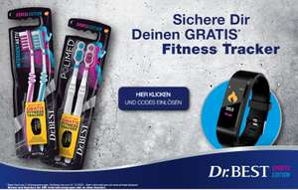 2x Dr. Best Sport Edition Zahnbürsten kaufen und GRATIS Fitnesstracker erhalten