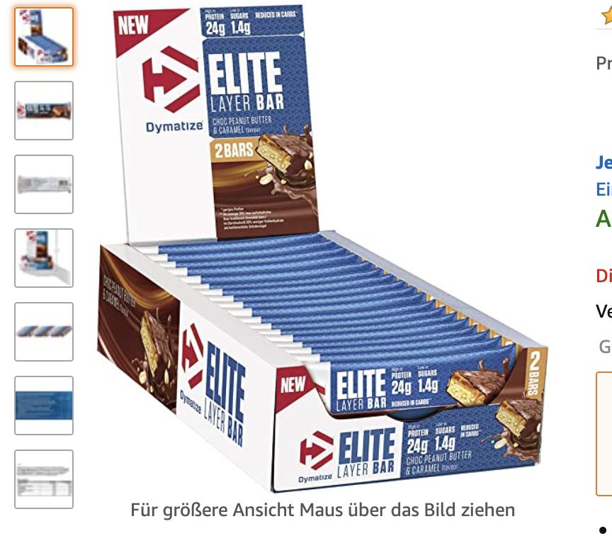 Dymatize Elite Layer Bar Peanut Butter & Caramel 18x(2x30g)