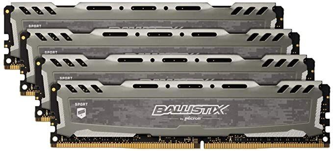 Crucial Ballistix Sport LT grau DIMM Kit 64GB, DDR4-3000, CL15-16-16
