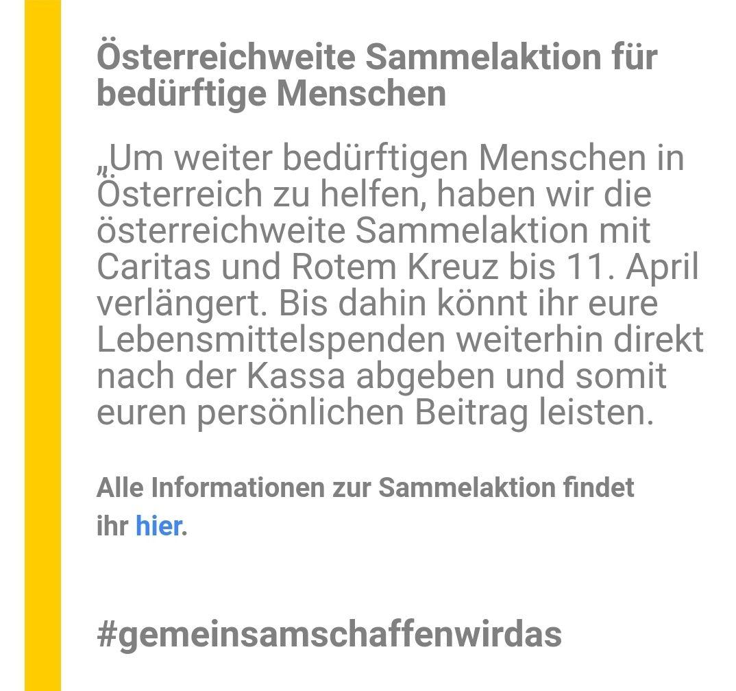 Verlängerung: Österreichweite Sammelaktion für bedürftige Menschen