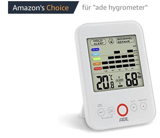 ADE Digitales Hygrometer WS 1500 mit visuellem Schimmelalarm