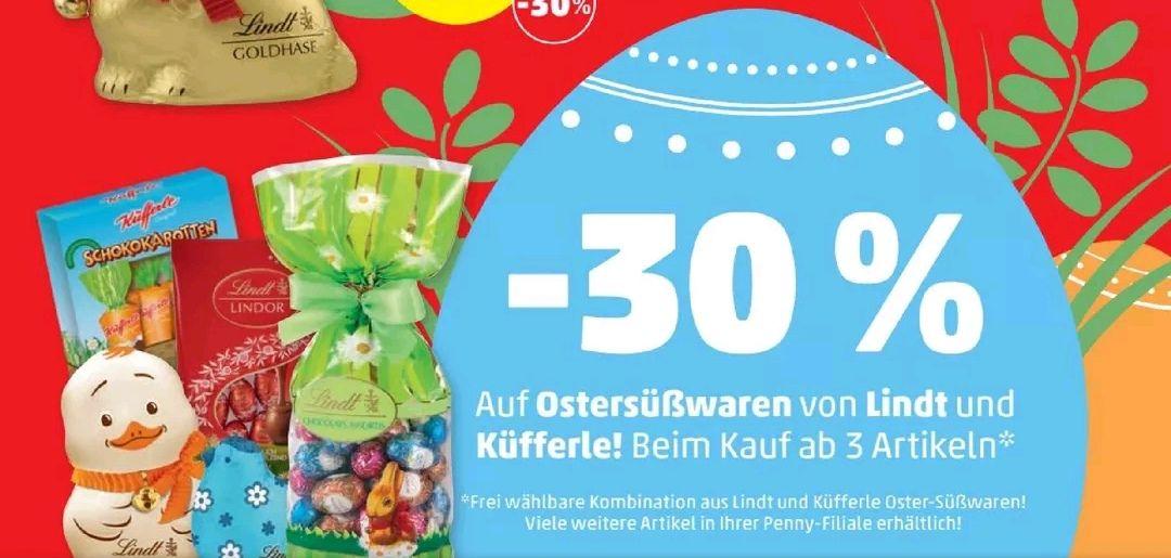 [Penny] -30 % auf Ostersüßwaren von Lindt & Küfferle ab 3 Artikeln