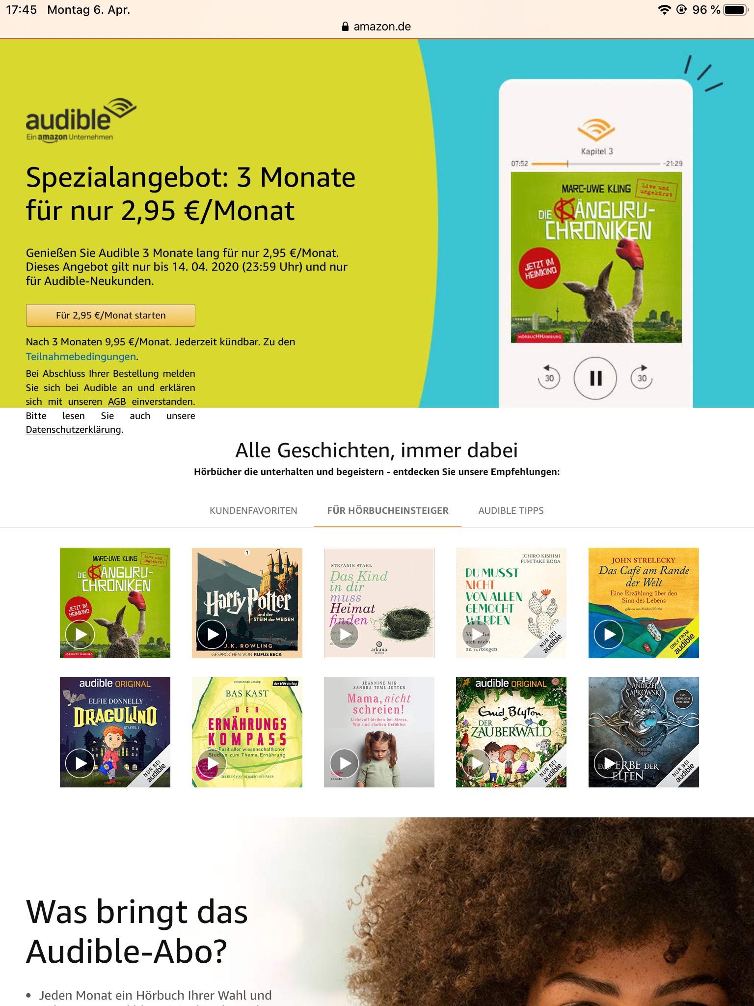 Audible Hörbücher für 2,95 Euro 3 Monate lang