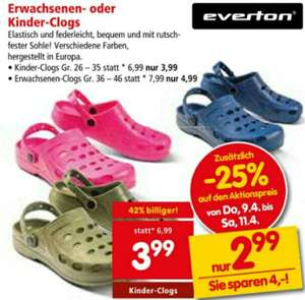 [Interspar] Erwachsenen Clogs um nur 3,74€ / Kinder Clogs um nur 2,99€ ab 09.04.