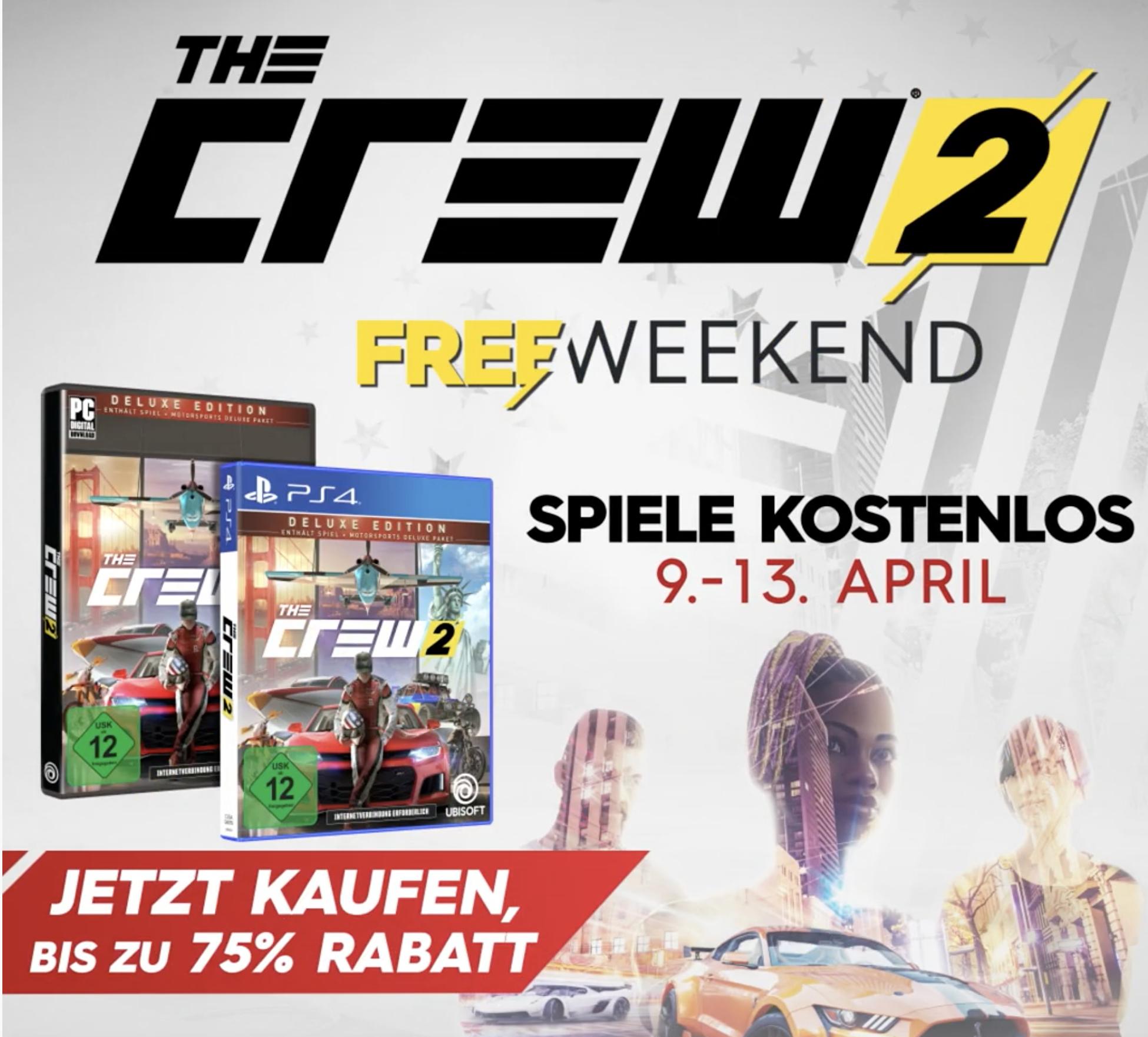 """The Crew 2 Free """"Weekend"""" für PC und Playstation 4 von 09. - 13.04"""