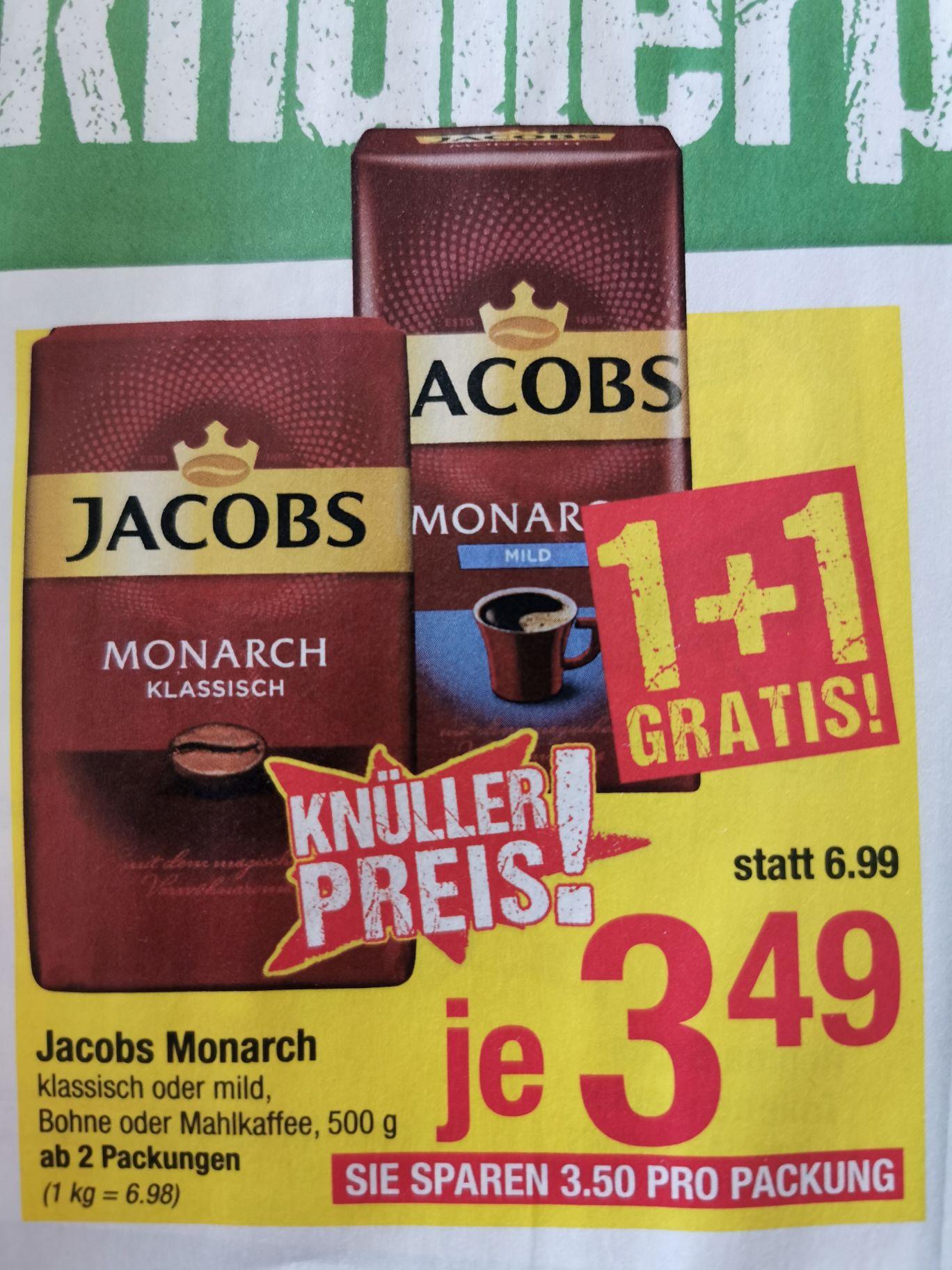 @maximarkt 1+1 gratis Jakobs Monarch Bohne oder gemahlen