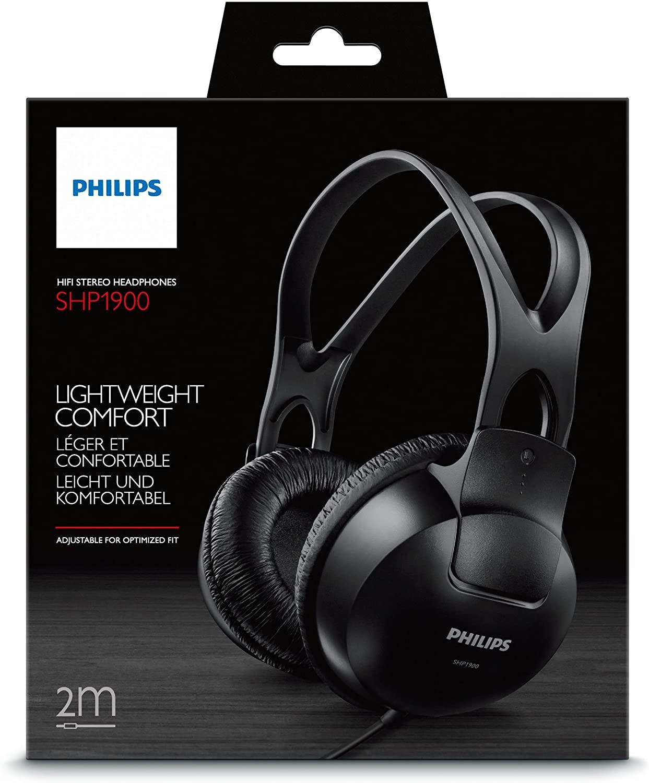 Philips Audio SHP1900/10 Over Ear Kopfhörer mit Kabel (Anpassbarer Kopfbügel, Große Ohrmuscheln, Leichtes Design, 2 m Kabel)