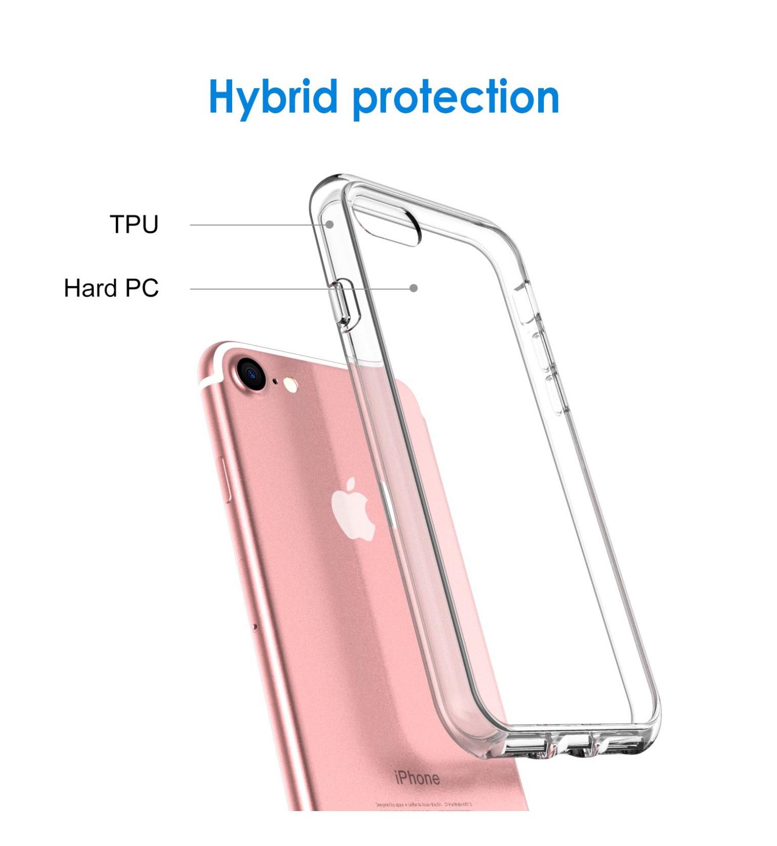 JETech Hülle Kompatibel Apple iPhone SE 2020, iPhone 8 und iPhone 7, Schutzhülle mit Anti-kratzt Transparente und Rückseite, HD Klar