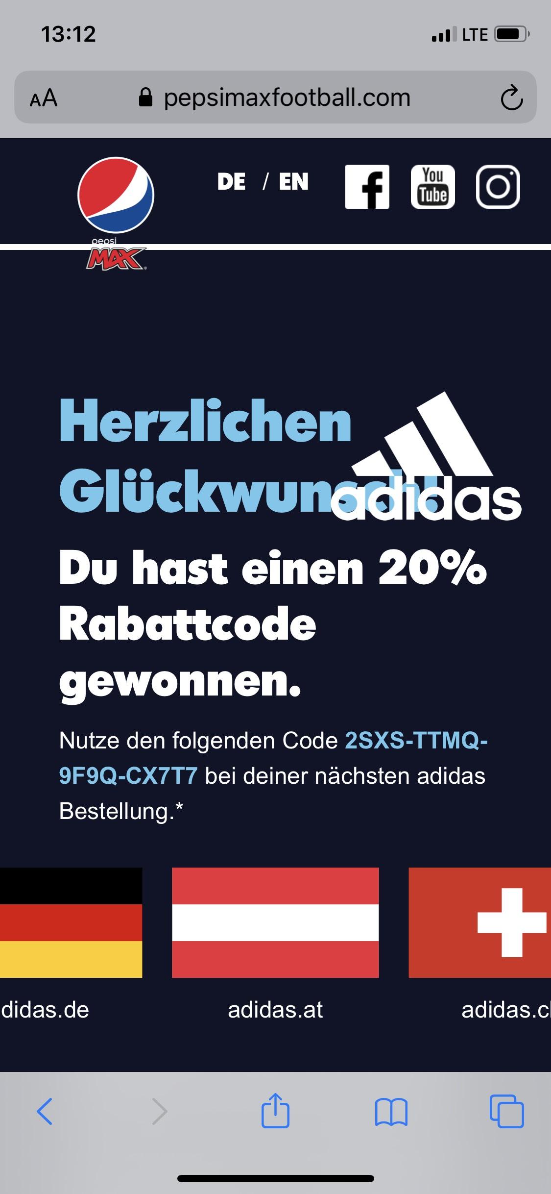 Adidas 20% Gutschein