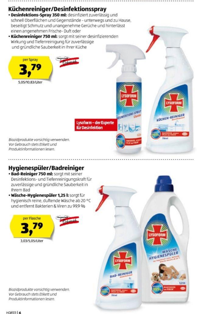 Lysoform Desinfektionsspray/Küchenreiniger/Badreiniger/Hygienespüler
