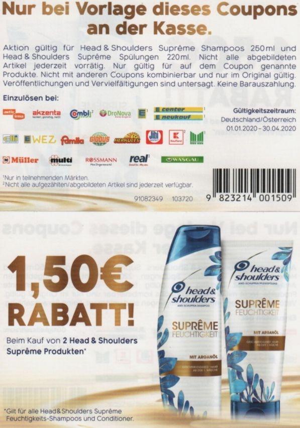 1,50€ Rabatt beim Kauf von 2 Head & Shoulders Supreme Produkten bis zum 30.4.2020 [Deutschland und Österreich]