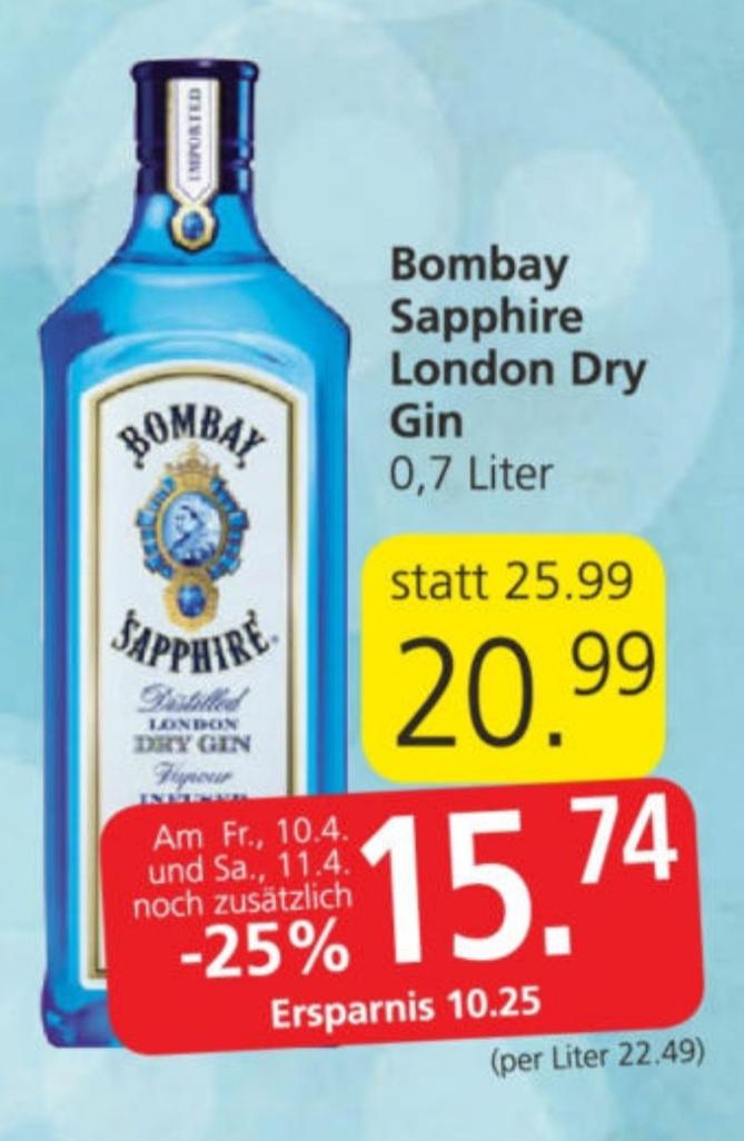 Bombay Sapphire London Dry Gin 0,7 l (Spar Eurospar Interspar)