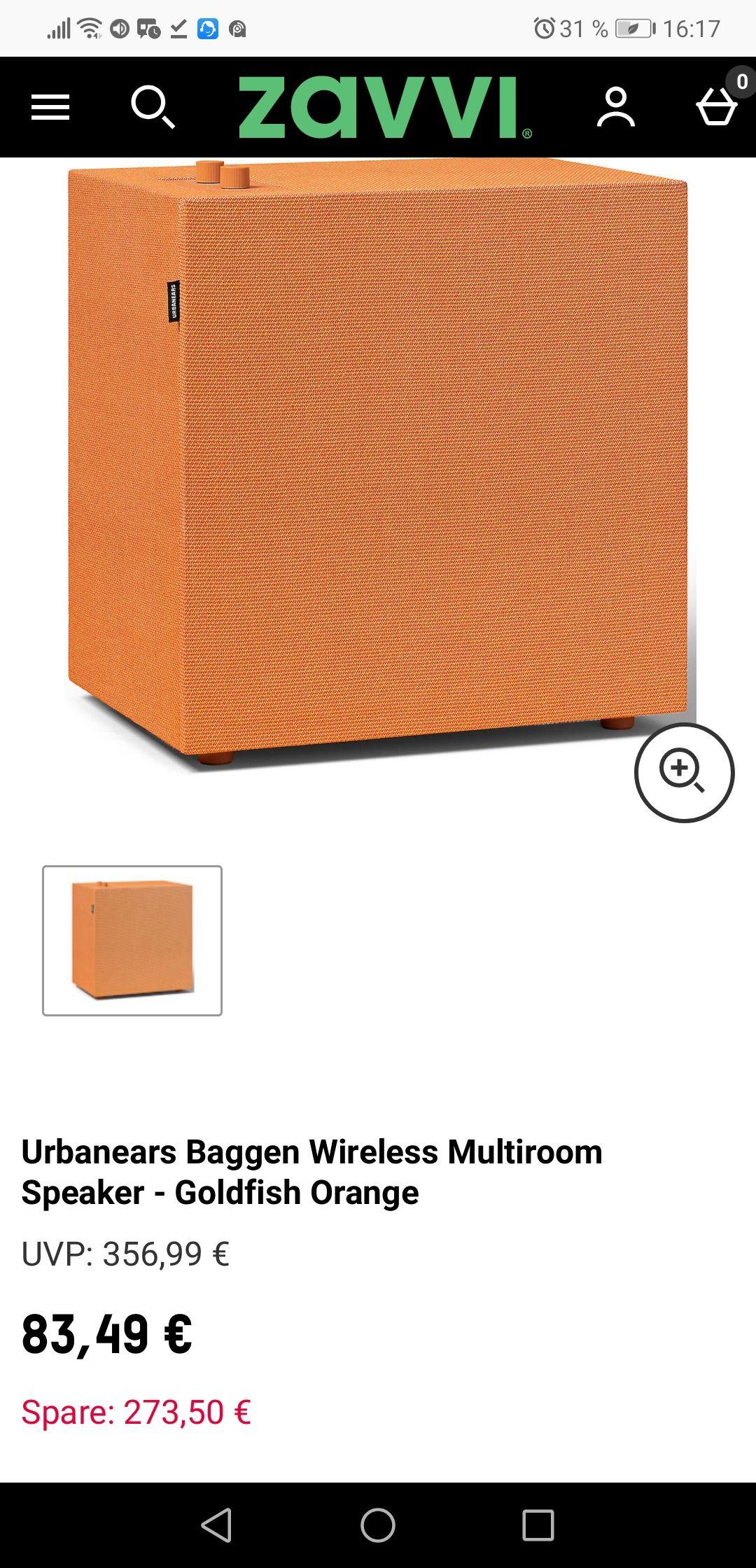 Urbanears Baggen orange Multiroom Lautsprecher