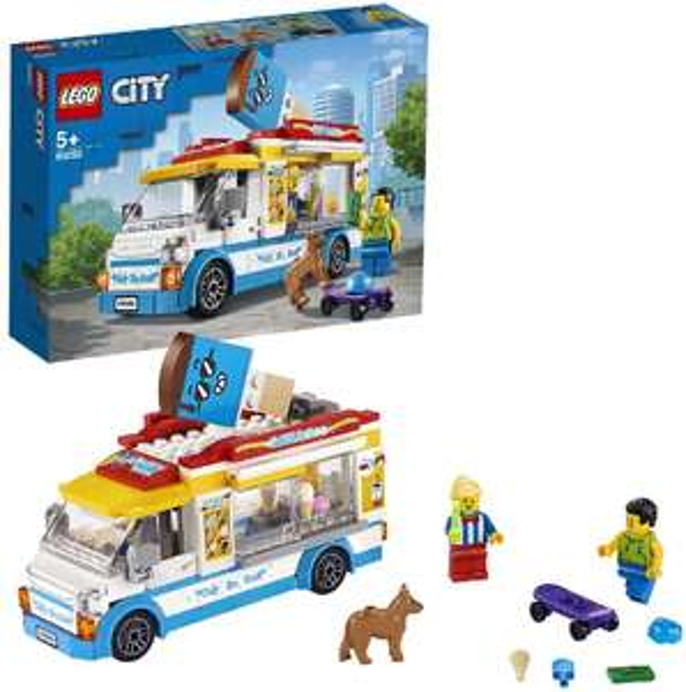 LEGO Eiswagen City Spielzeug mit Skater- und Hundefigur