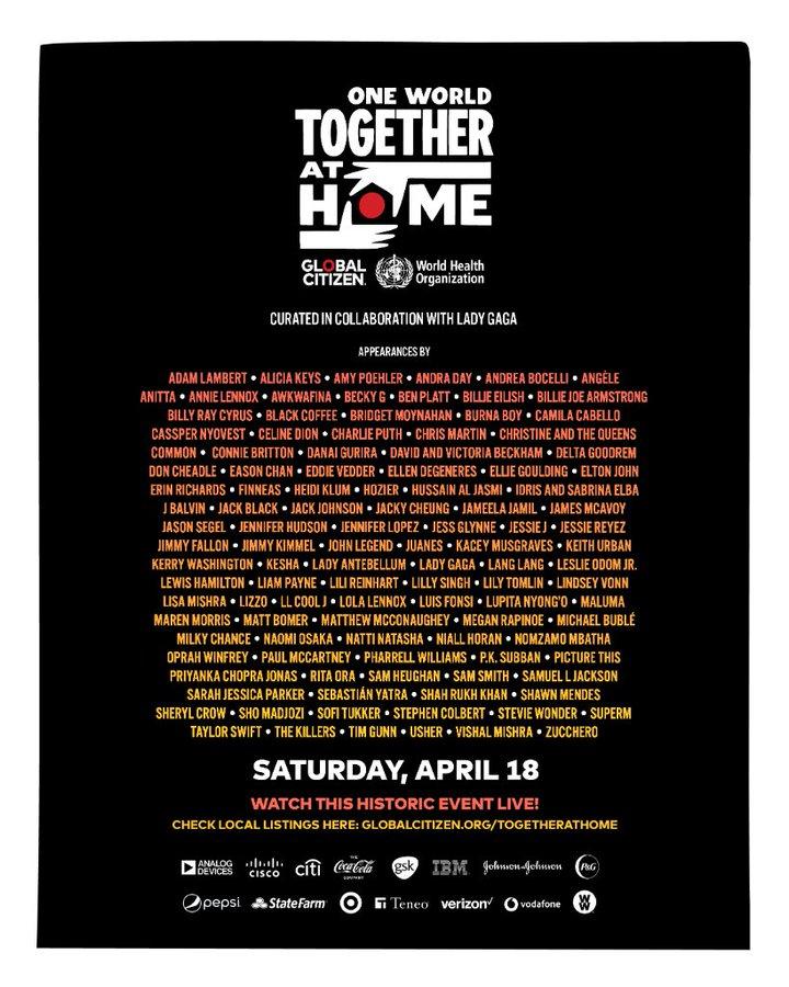 18.04. 20:00 Corona-Benefizkonzert mit Lady Gaga, Billie Eilish, Paul McCartney, Stevie Wonder, Alanis Morissette, Elton John, Lang Lang,...