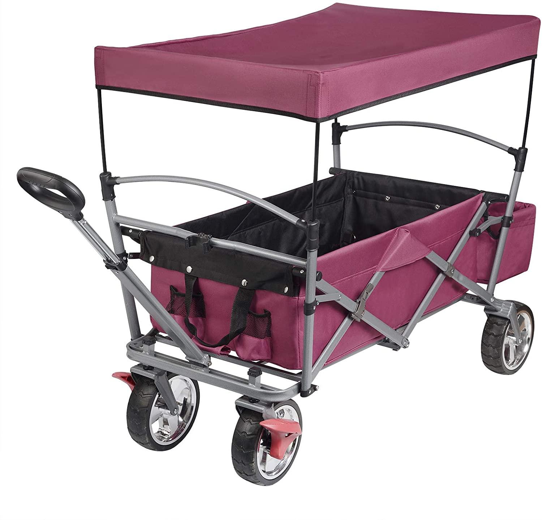 Faltbarer Bollerwagen mit Dach für Kinder Garten Outdoor