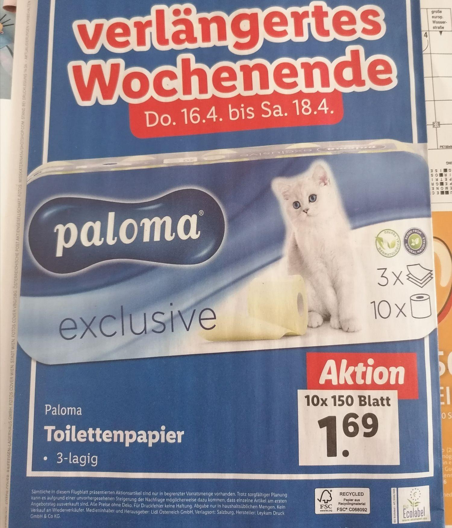 Toilettenpapier! Zum guten Preis bei Lidl