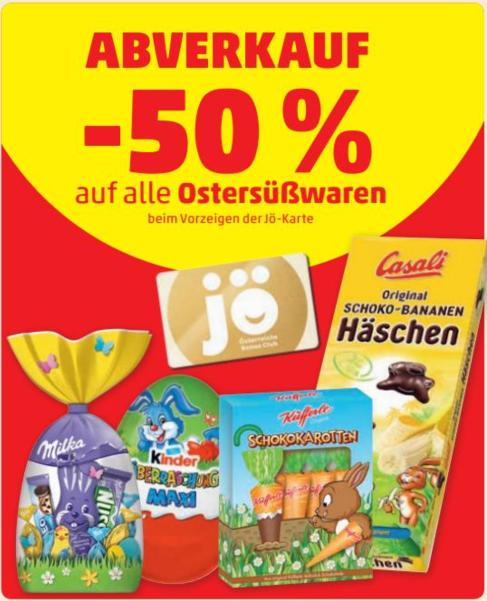 (Penny, Müller, Merkur) 50% Rabatt auf Ostersüßwaren