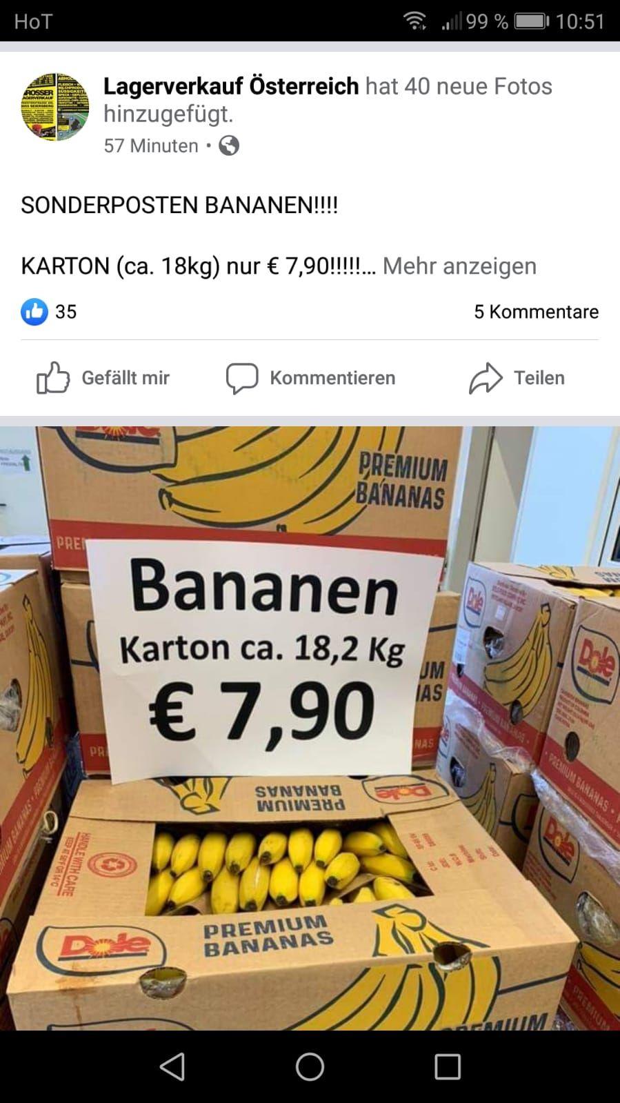 18 Kilo Bananen für 7.90 Euro kilo Preis ca. 44 Cent