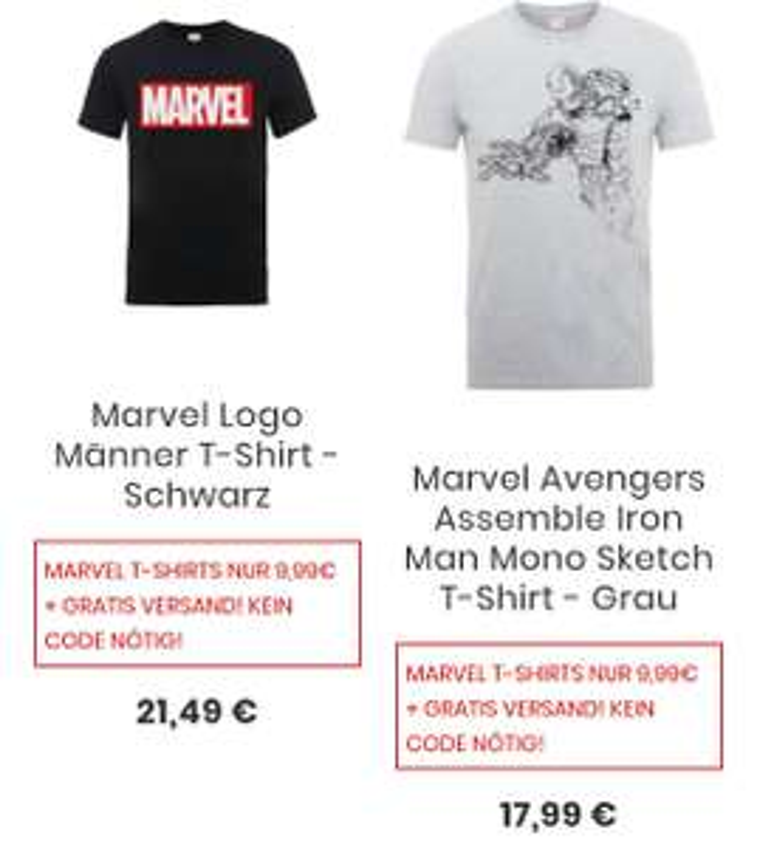 Marvel T-Shirts für 9,99 +kostenloser Versand