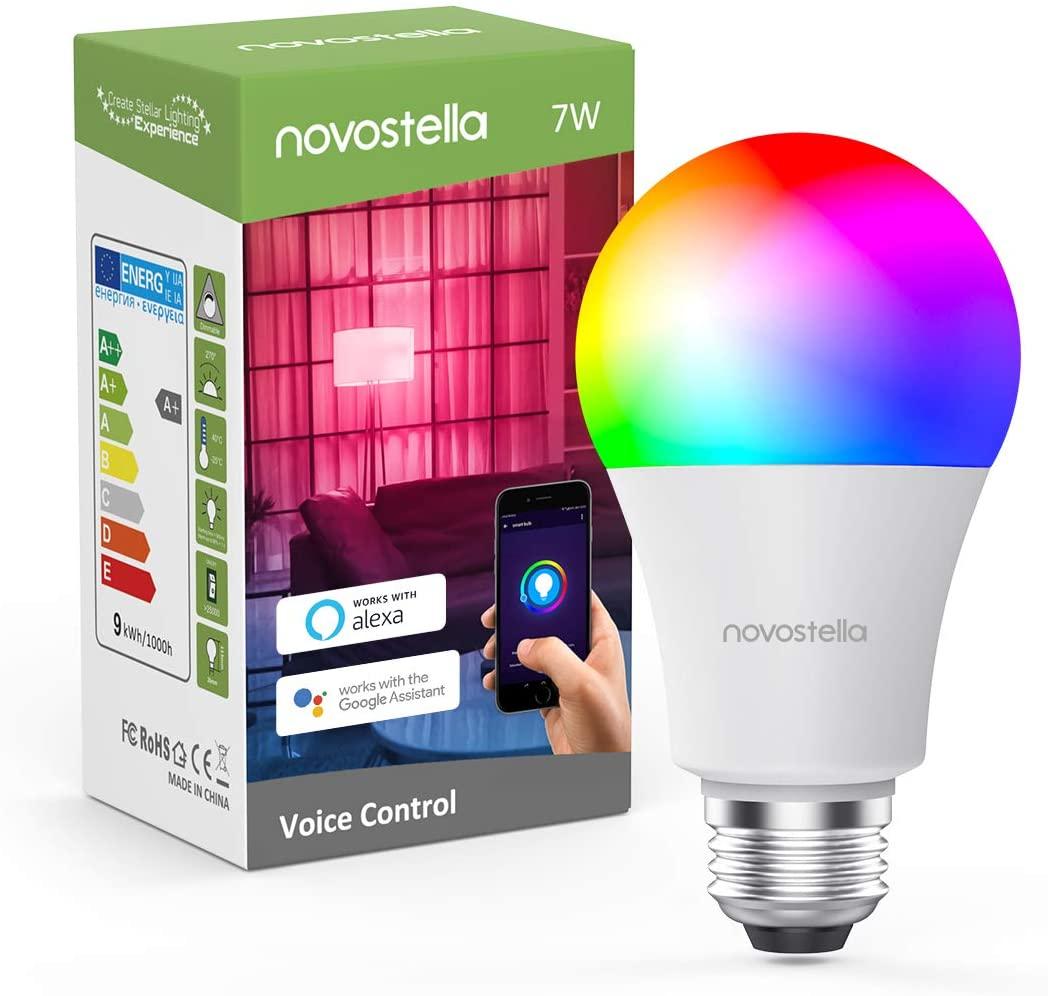 Novostella Smart RGB 7W Glühbirne E27 mit Sprachassistenten Funktion
