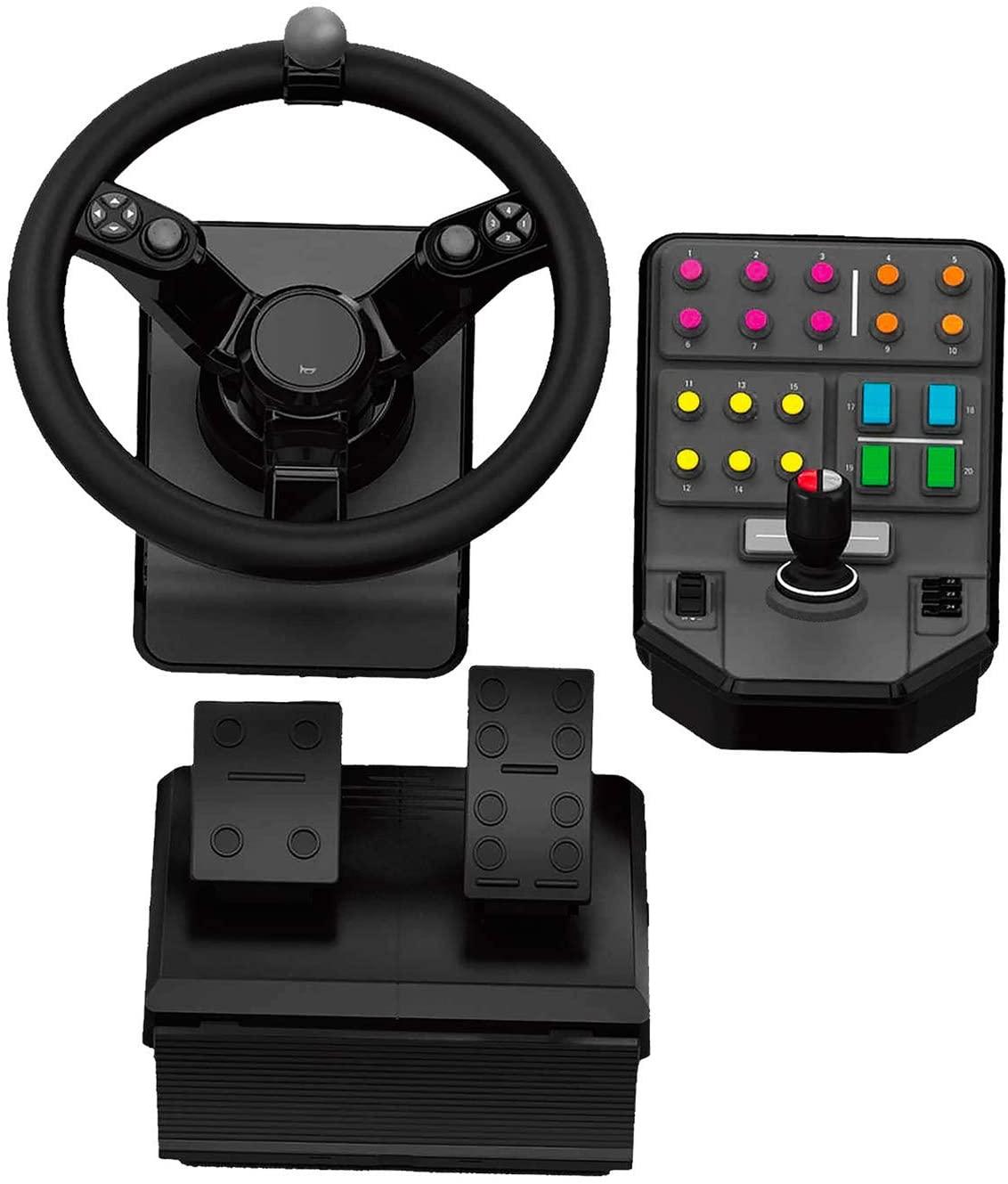 Logitech G Saitek Farm Sim Controller, Farming Simulator Bundle bestehend aus Lenkrad, Steuerkonsole, Gas- und Bremspedal