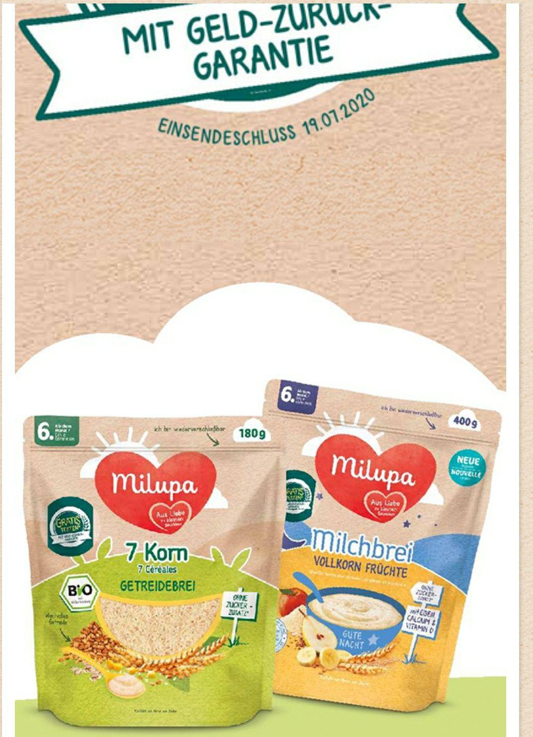 Milupa Milch und Getreidebrei kostenlos testen