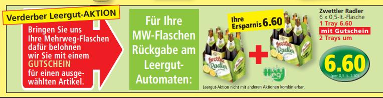 [Lokal] Eurospar Retz Leergutaktion: Zwettler Radler 12x 0,5l