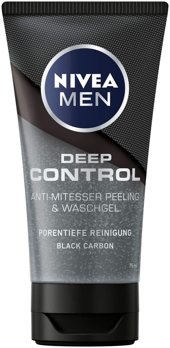 NIVEA MEN Deep Control Anti-Mitesser Peeling und Waschgel im 3er-Pack (3 x 75 ml)
