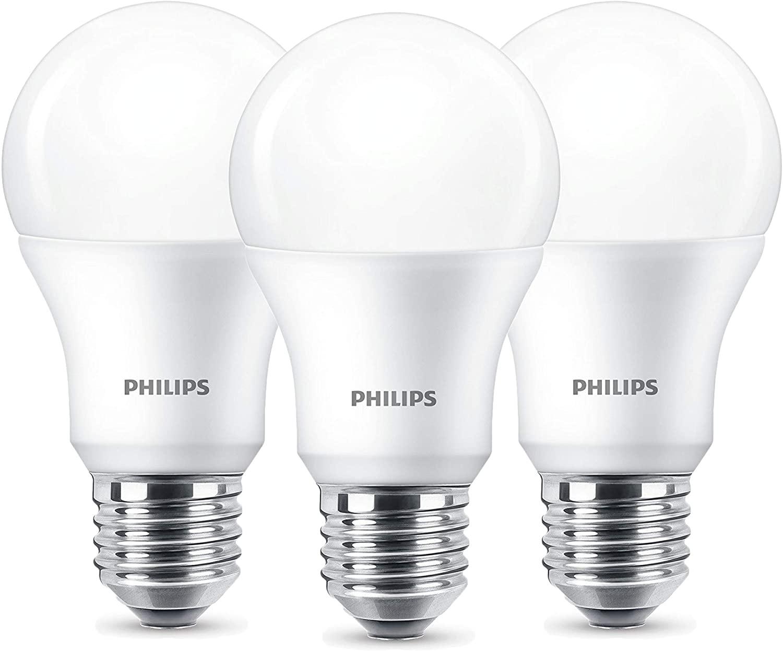 3x Philips LED Lampe, E27, 806 Lumen