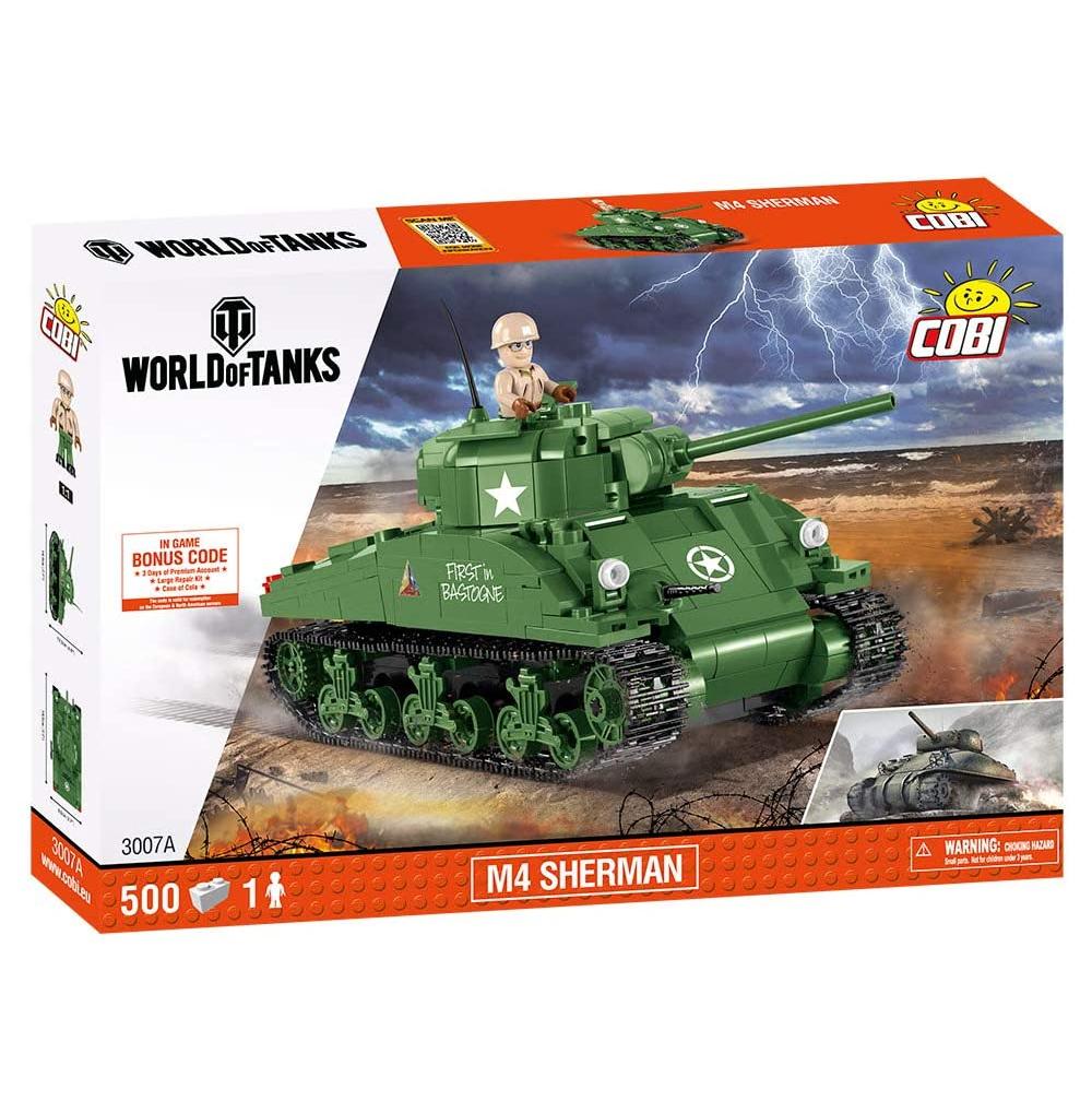 2x COBI 3007 COBI-3007A M4 Sherman Konstruktionsspielzeug, Green
