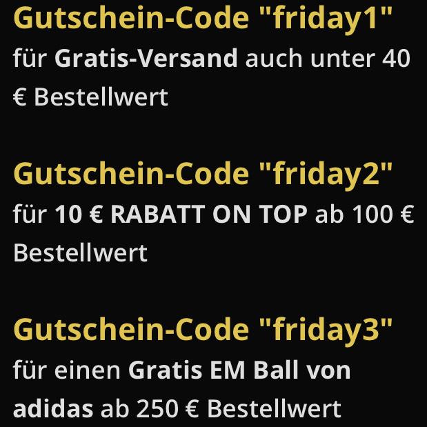 """Kostenloser Versand ohne MBW oder € 10,— Rabatt ab € 100,— Einkaufswert (Code """"friday2"""") oder ..."""