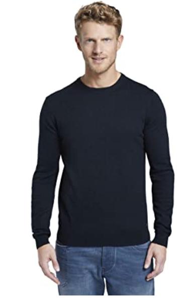 TOM TAILOR Herren Pullover & Strickjacken Sweater mit Kaschmir-Anteil in blau ab 11,23 Euro