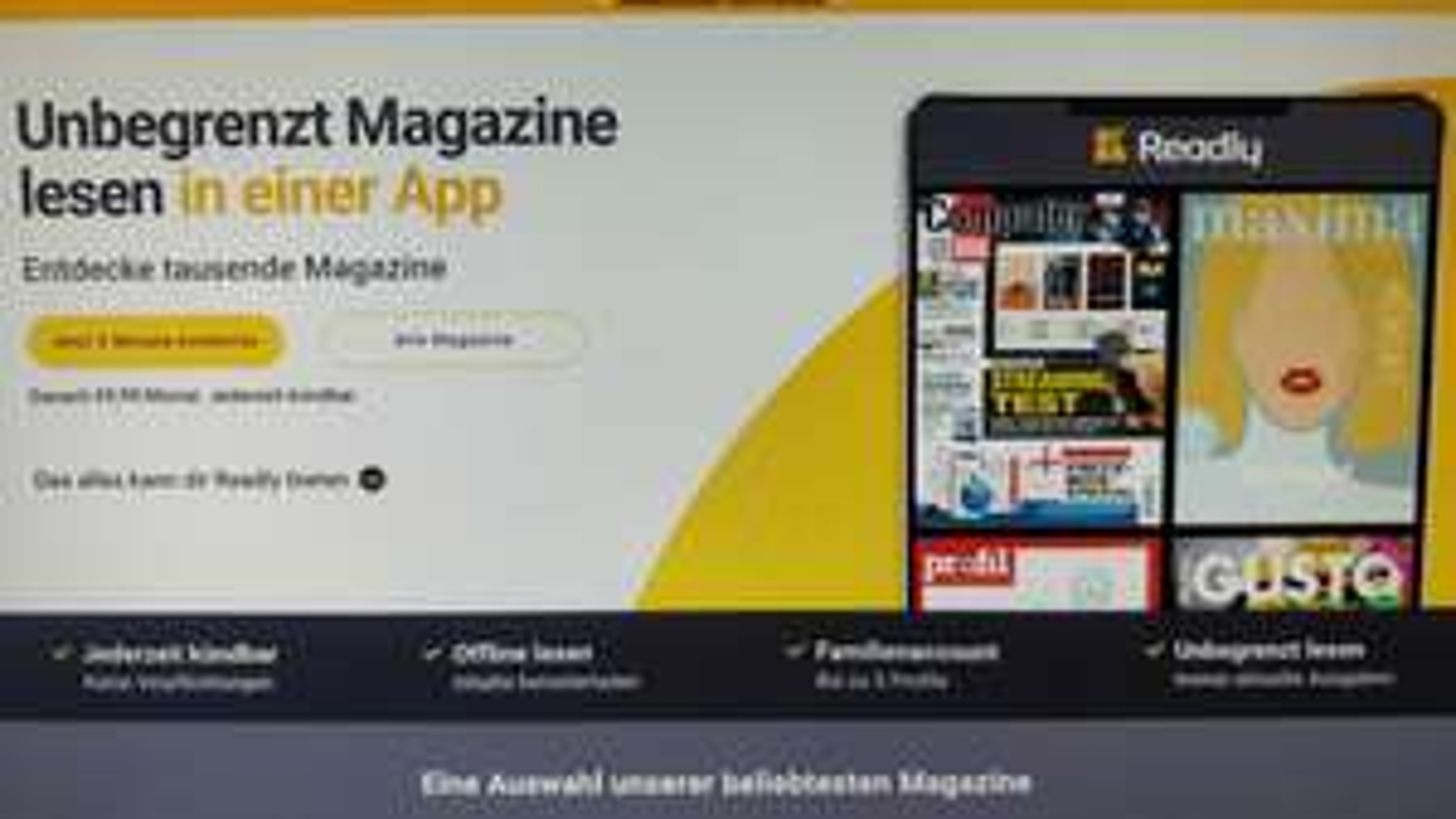 Readly 2 Monate Gratis, danach um 1€ günstiger für Magenta Mobile Kunden!