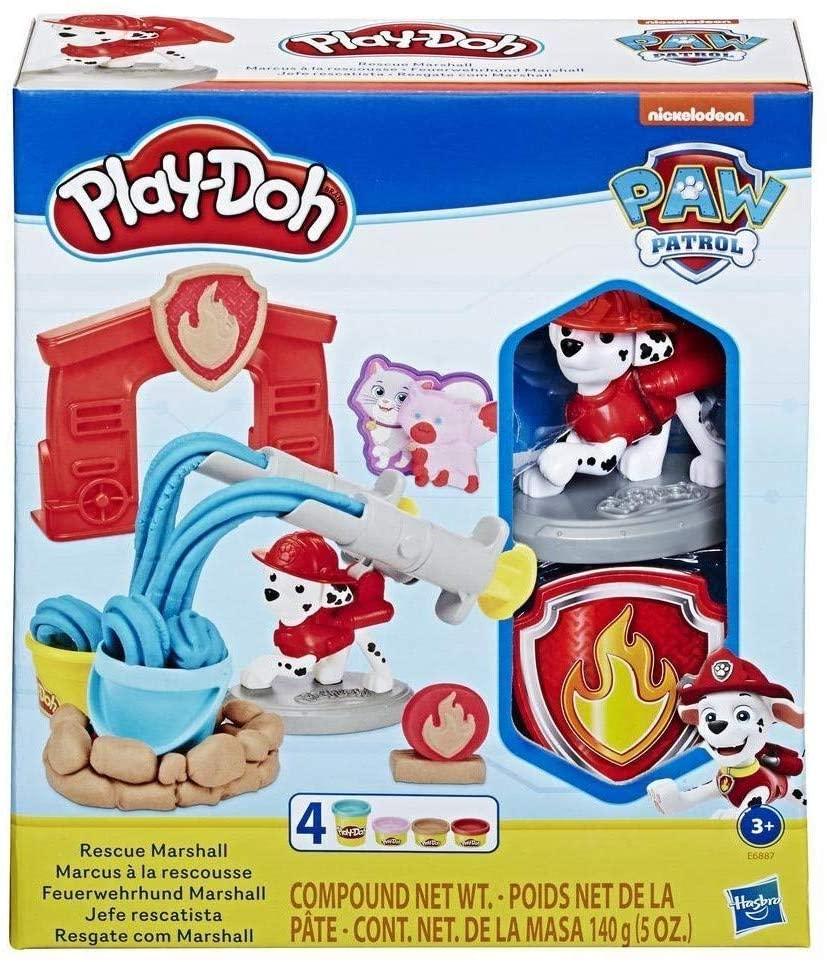 Play-Doh PAW Patrol Feuerwehrhund Marshall, Spielzeug Figur und Knetwerkzeug