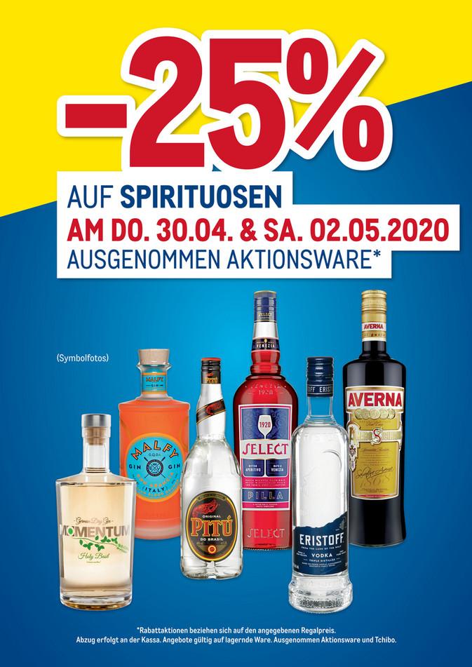 METRO (iM offen für Alle!): -25% auf Spirituosen, 30.04. - 02.05. (ausgenommen Aktionsware) + Gratis Zustellung ab 150€