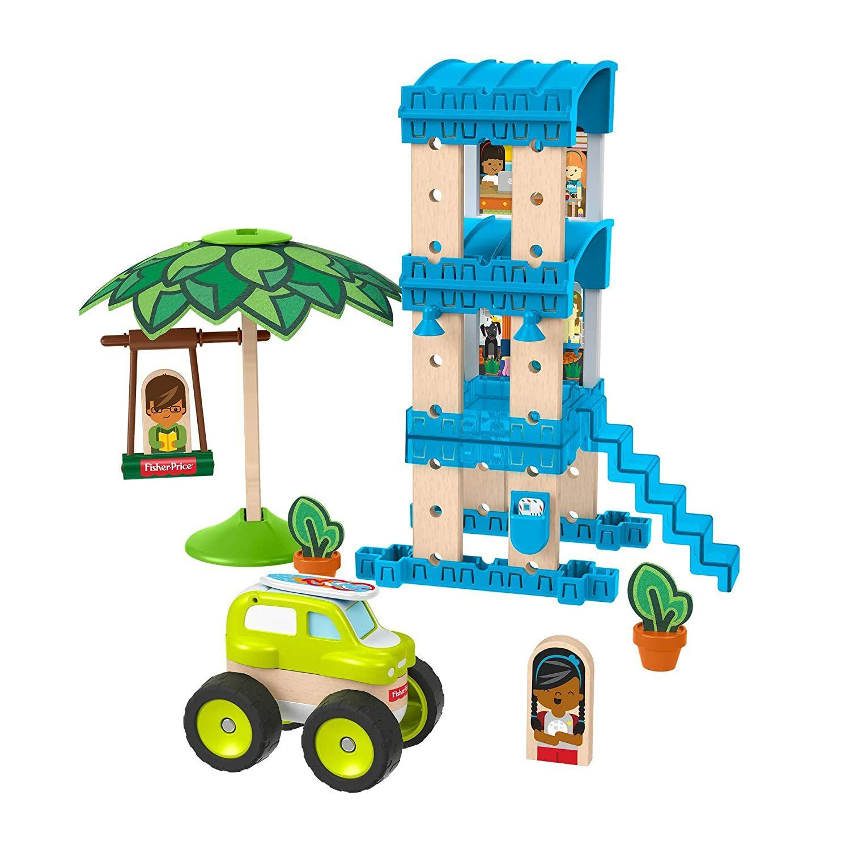 (Preisjäger Junior)Fisher-Price GFJ13 - Wunder Werker Holzspielzeug Strandbungalow Spielset