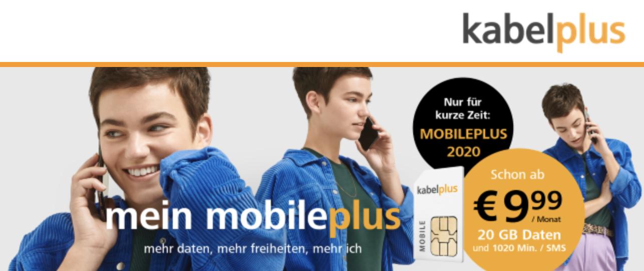 Kabelplus MobilePLUS 2020 Tarif 20GB im 3 Netz