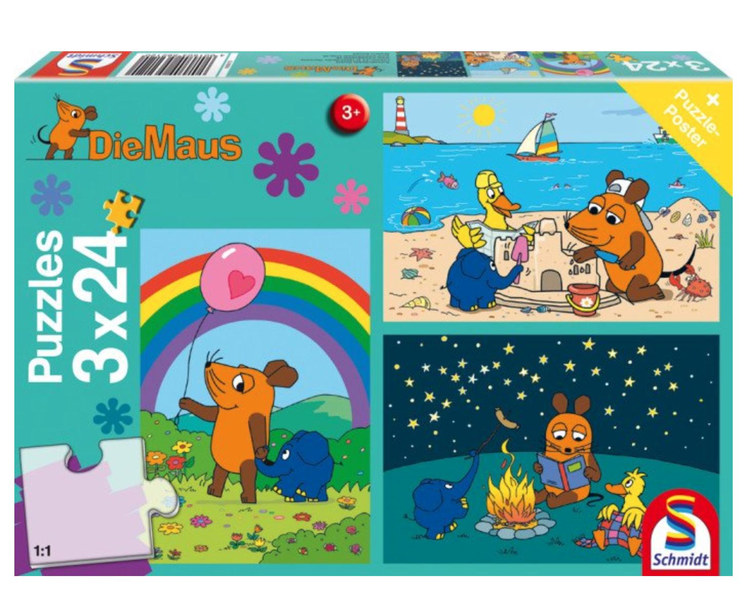 Preisjäger Junior: Die Sendung mit der Maus Puzzle, 3x24 Teile