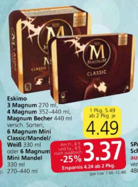 Verschiedene Magnum-Sorten im Angebot bei SPAR