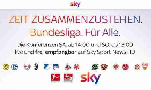 Kostenloser Livestream bzw. im TV Sky Bundesliga Konferenz