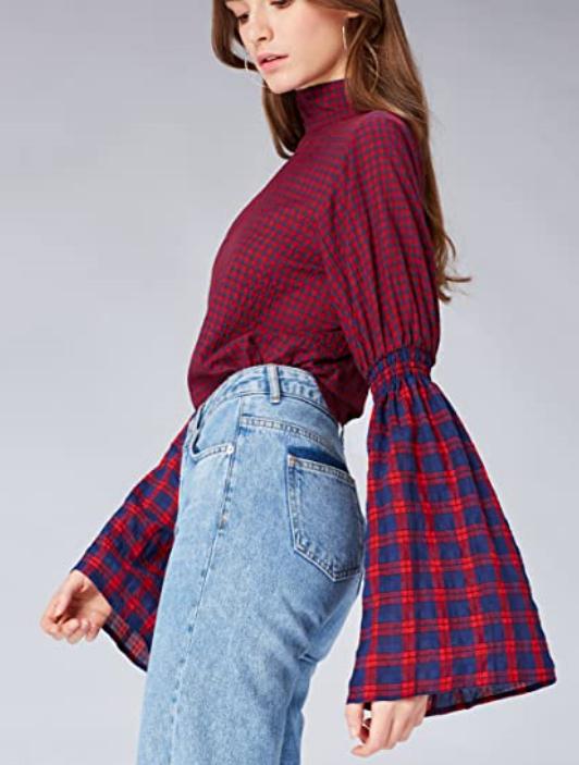 Amazon-Marke: find. Damen Bluse mit Trompetenärmeln ab 5,71 Euro