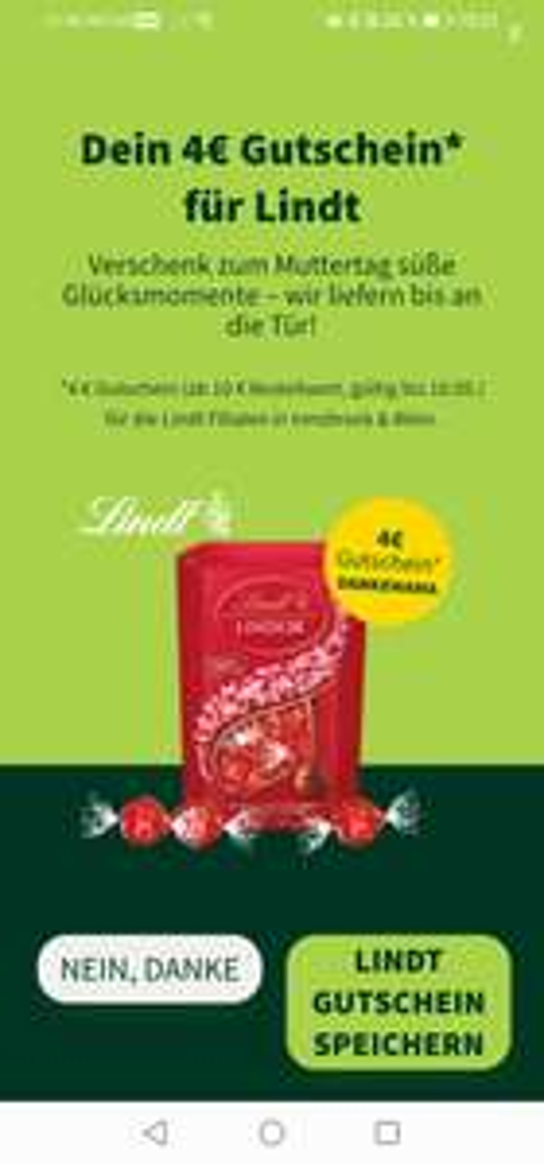 4€ Gutschein bei Mjam für euren Lindt Shop Einkauf