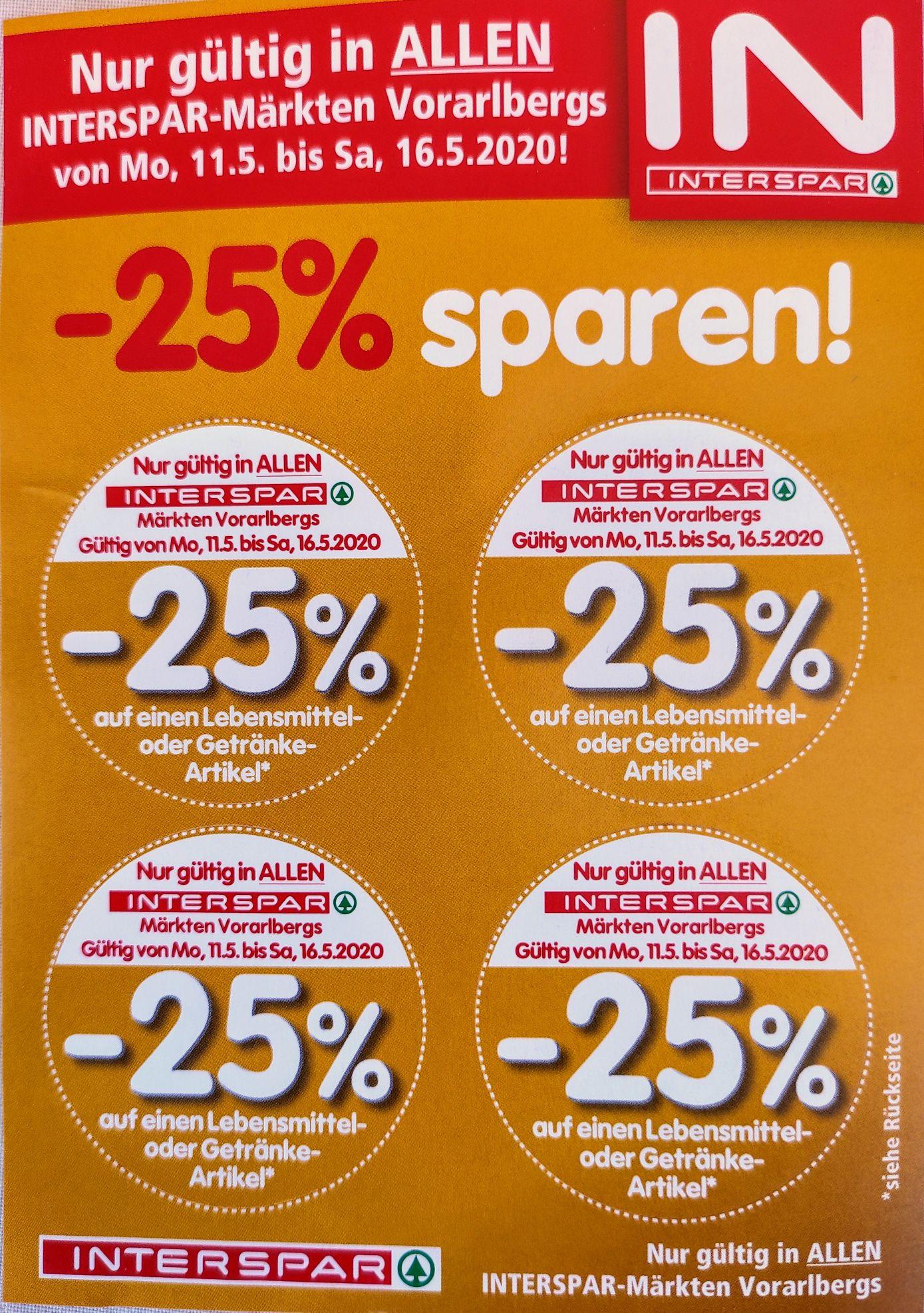 Interspar Vorarlberg -25% Pickerl 11.-16.5.
