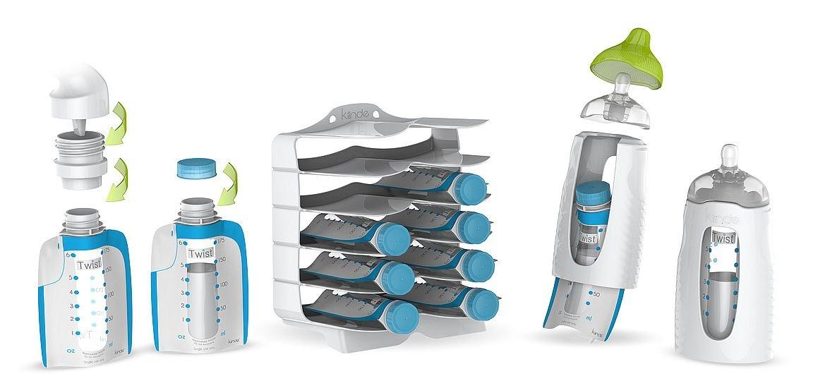 Babymoov Twist großes Starter Set, zum Abpumpen, Aufbewahren und Füttern von Muttermilch ohne Umfüllen
