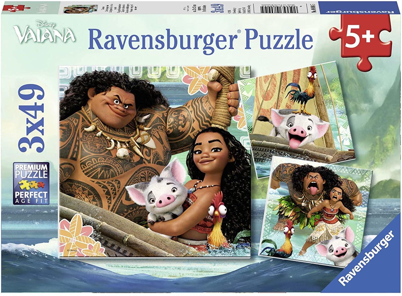 Ravensburger - Vaianas Entdeckungsreise Puzzle, 3 x 49 Teile