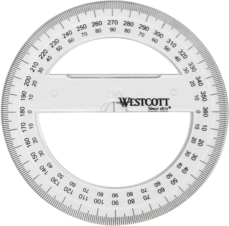 Westcott E-10135 00 Winkelmesser Vollkreis Kunststoff, 10 cm, transparent