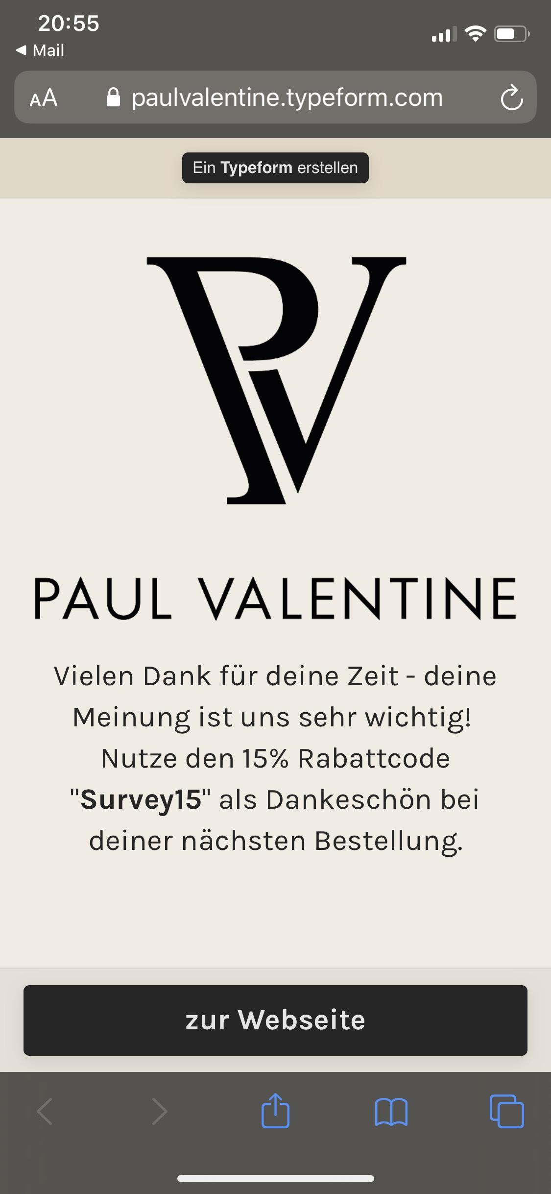 [Paul Valentine] -15% Gutschein