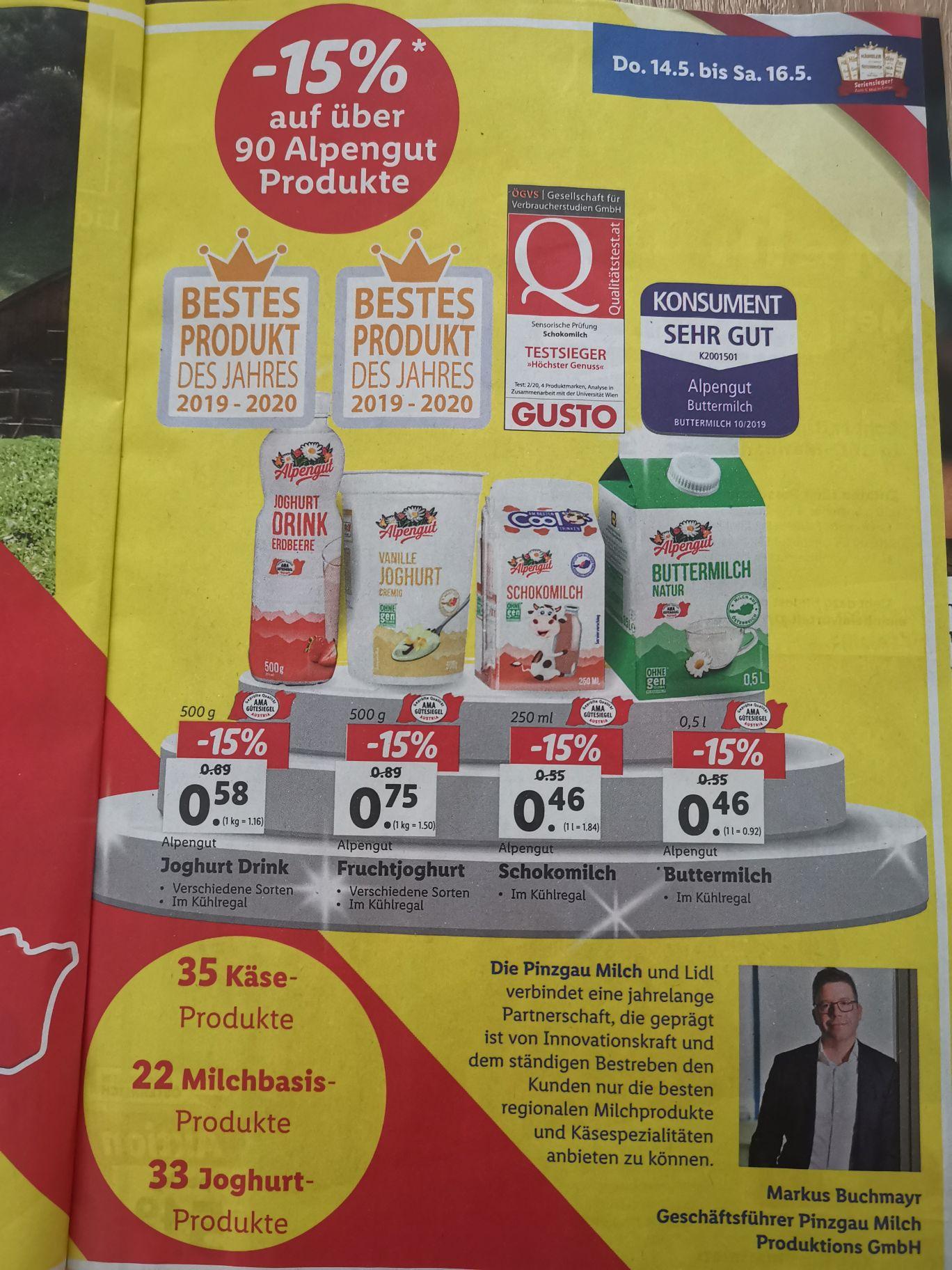 [Lidl] 90 Alpengut Produkte - 15%